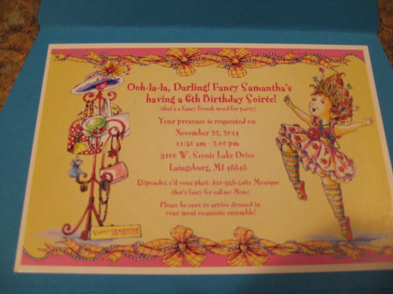 The Lapinski Family: Samantha\'s Fancy Nancy Birthday Parties
