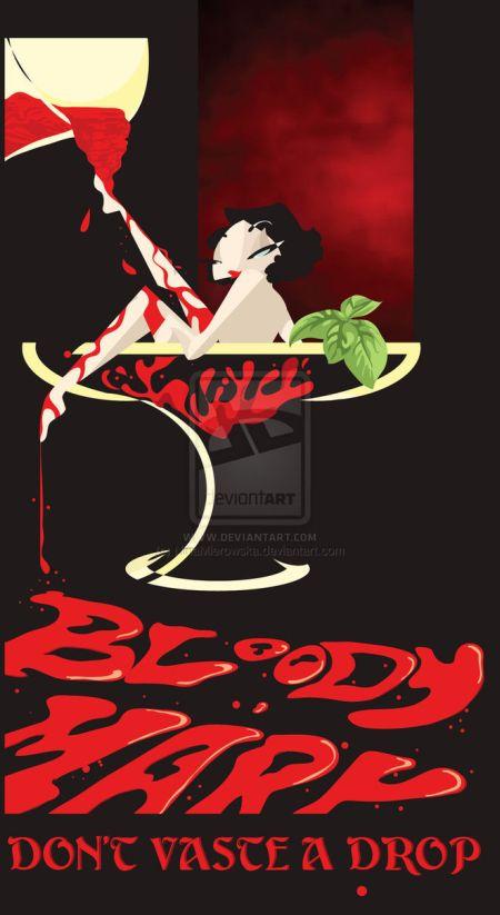 Nina Mierowska ilustrações pin-ups garotas caricatas sensuais mulheres Bloody mary - não desperdice uma gota