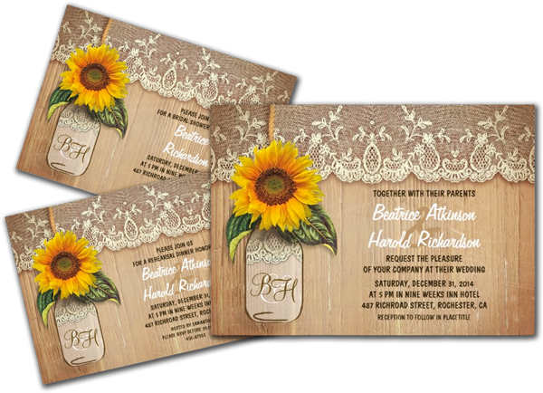 Vintage Rustic Sunflower Mason Jar Wedding Custom Invitations