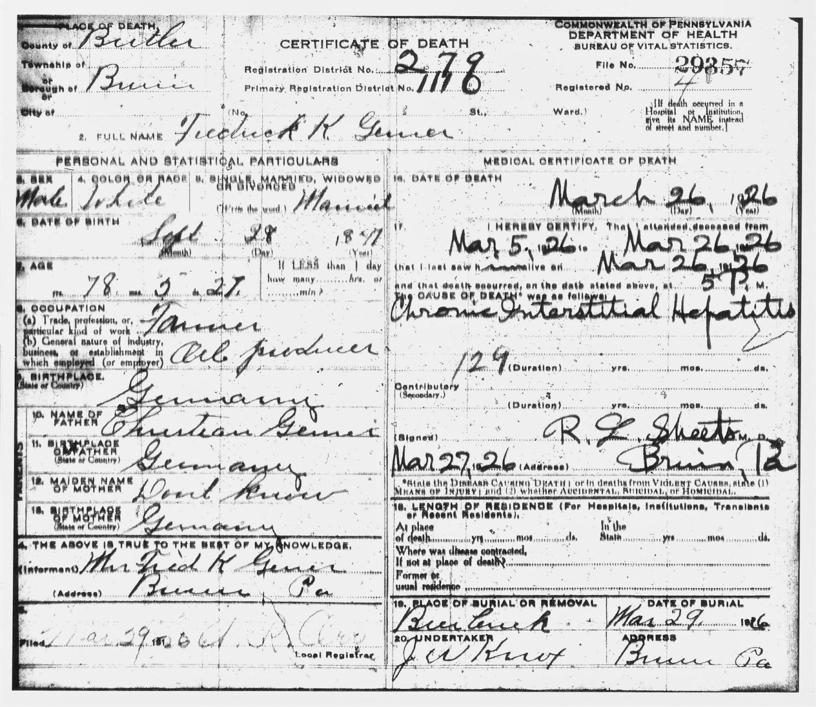 My ancestors and me the surprise in fred gerners death certificate certificate of death commonwealth of pennsylvania department of health bureau of vital statistics file no 29357 stamped numbers registration district no 1betcityfo Gallery