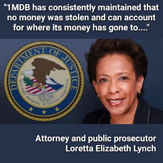 Tiada Siasatan Jenayah Ke atas Isu 1MDB – Peguam Negara Amerika