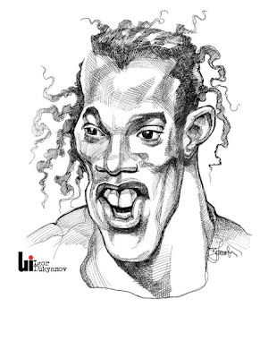 Ronaldinhio caricature (cross-hatching)