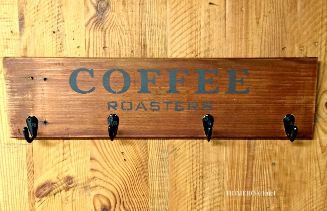 An Old Sign Stenciled Coffee Mug Rack and a Sad Story www.homeroad.net