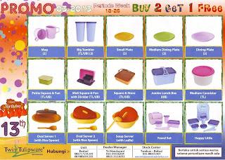 Promo Buy 2 Get 1 Free Twin Tulipware Bulan Mei - Juni 2013 Periode Week 18 - 26