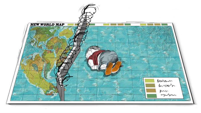 Artists Around The World Respond To Tragic Death Of 3-Year-Old Syrian Refugee - Cartoon: Rafat Al-khateeb