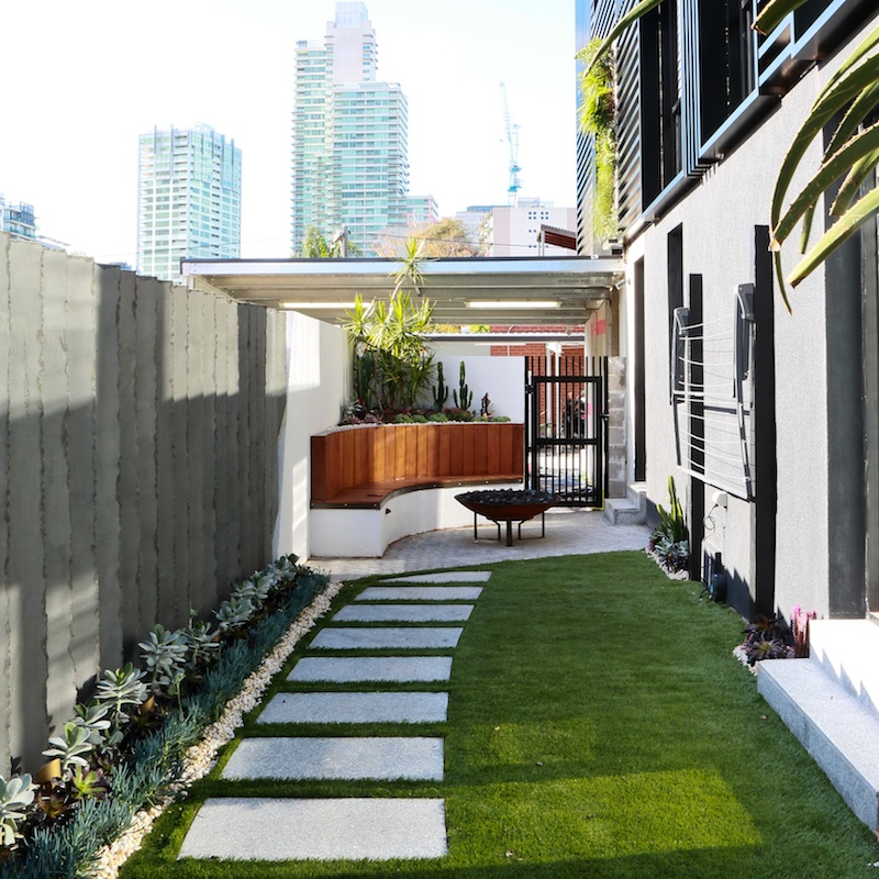 Life as we know it the block sky high ground floor for Courtyard landscape design melbourne