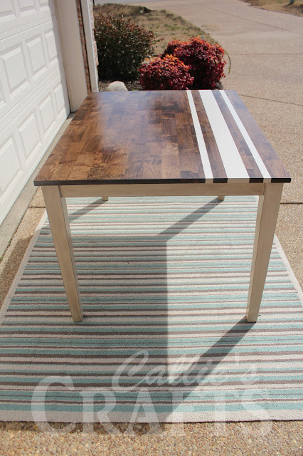 dark walnut stain, chalk painted table, vintage and modern style, grainsack striped table