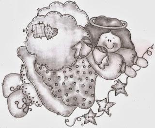 desenhos de anjos de natal para pintar