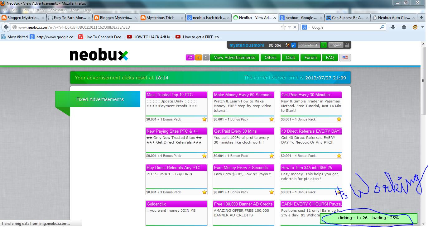 NeoBux Hack - Referral Money Adder Auto Clicker Bot