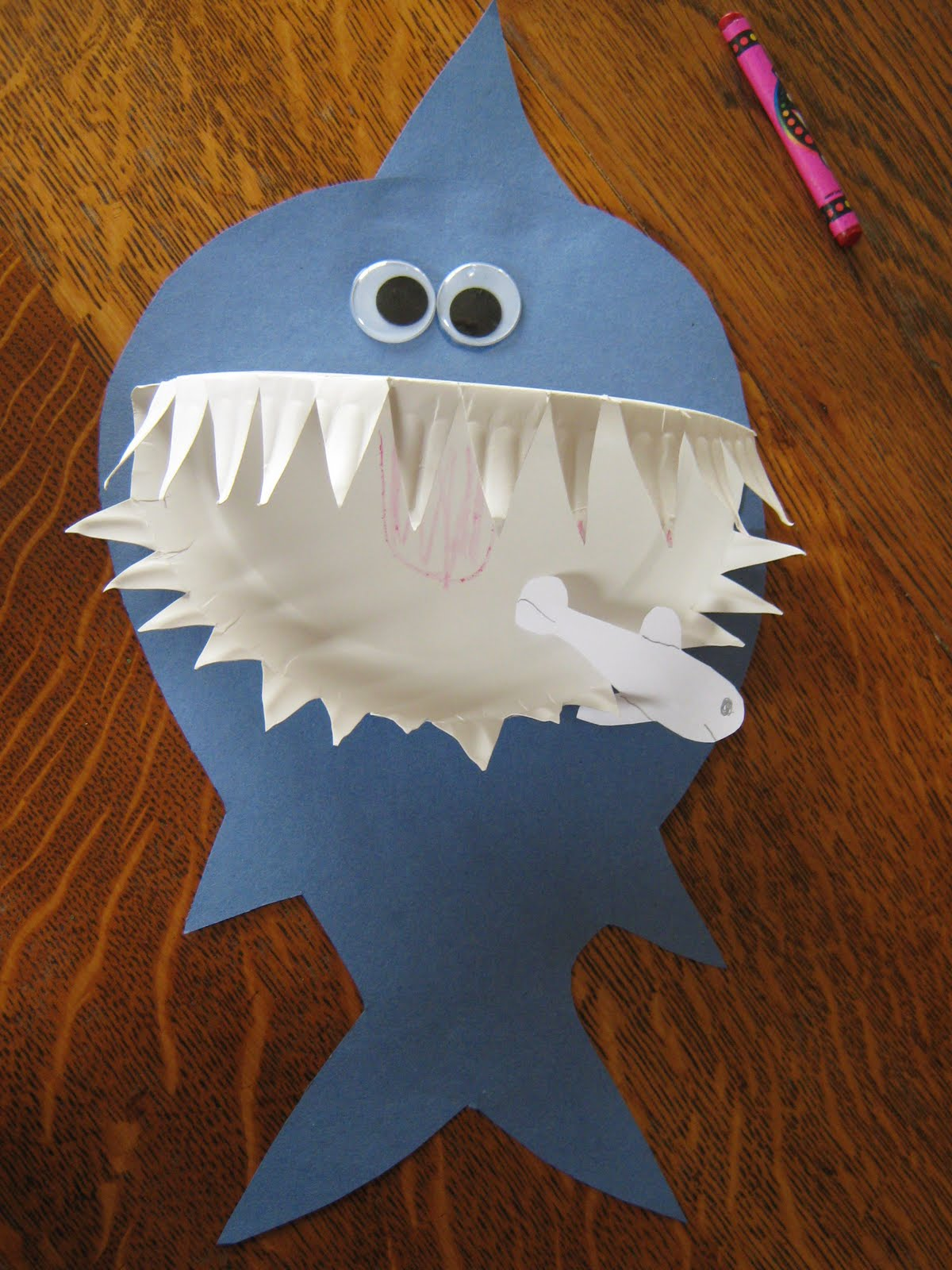 almost unschoolers paper plate shark craft