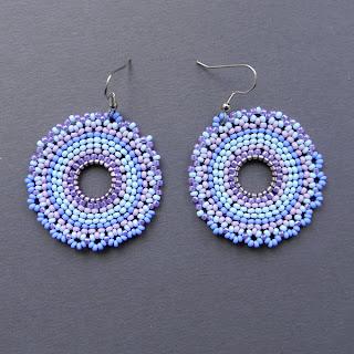 серьги круглые кирпичное плетение бисер бисероплетение сережки блог