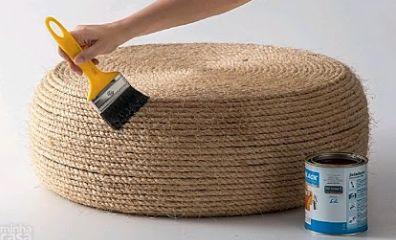 diy un pouf dans un vieux pneu initiales gg. Black Bedroom Furniture Sets. Home Design Ideas