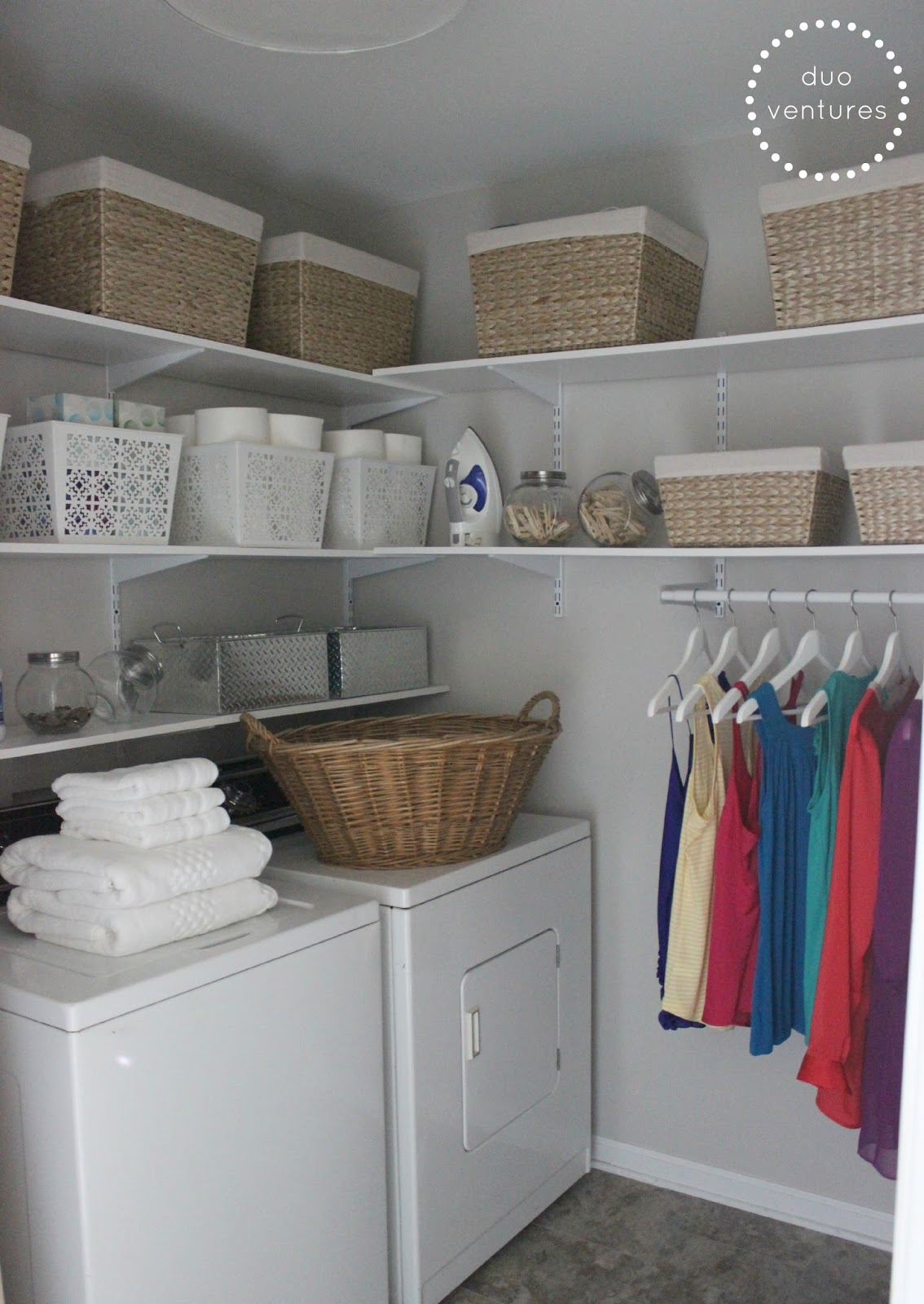 Duo ventures laundry room makeover for Laundry room shelving