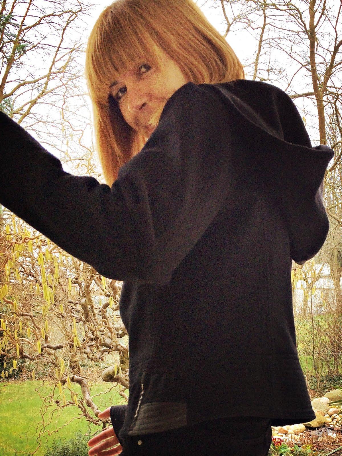 hoodie wolle schwarz grau