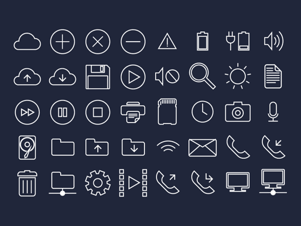 40 Free Flat UI System Icons