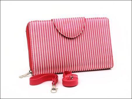 jual dompet wanita korea murah merah garis