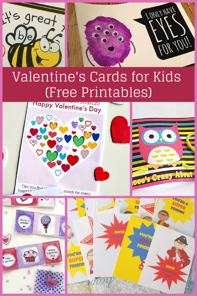 Valentine's cards for kids to make, with free printables