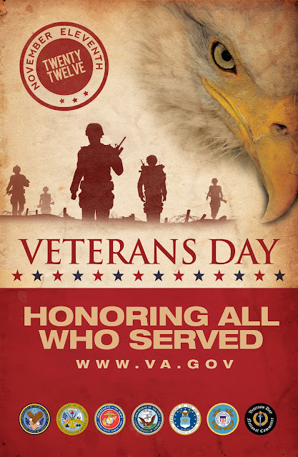 Veterans Day poster. Honering All Who Served.