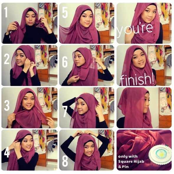 Cara Sederhana Memakai Jilbab Segi Empat