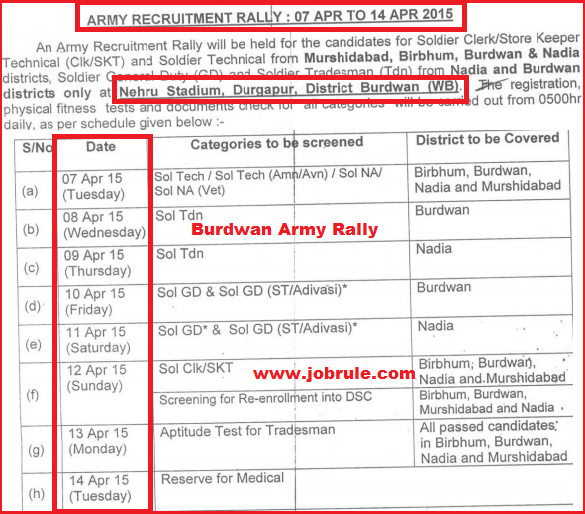 Direct Army Soldier Recruitment Rally in Durgapur Nehru Stadium (Burdwan) from 7th to 14th April 2015 (West Bengal)