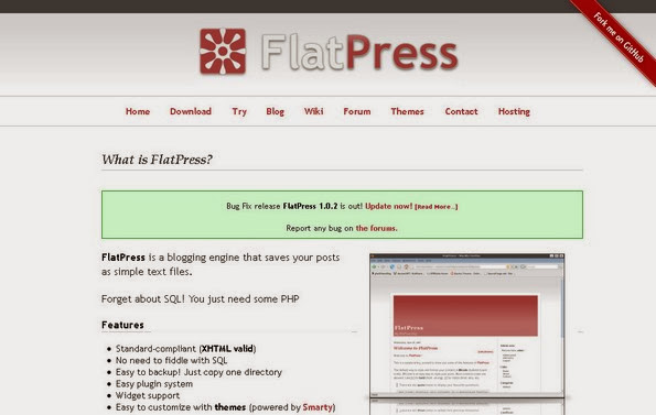 FlatPress flat file blogging software
