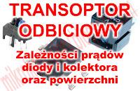 Transoptor odbiciowy - Zależność prądów diody i kolektora oraz powierzchni.