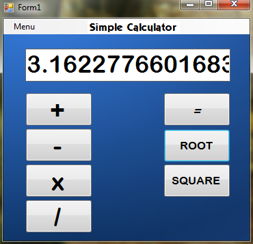 Calculator program using visual basic 6.0