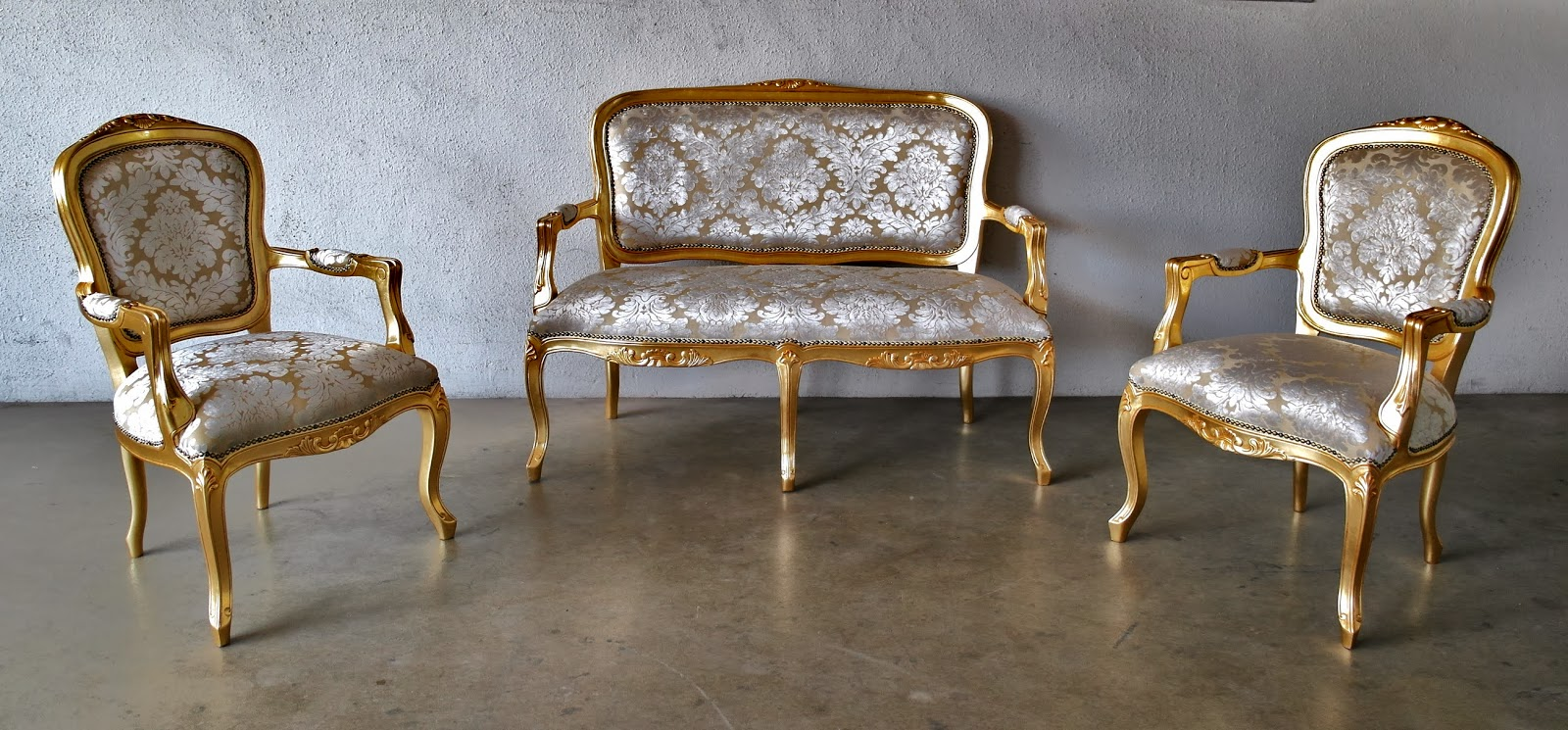 French furniture - French Sofa Set In Velvety Cream Embossed Designed Fabric