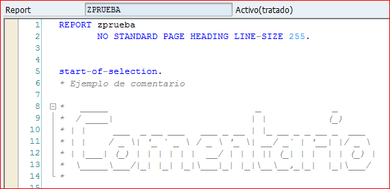 Comentario ABAP en ASCII art