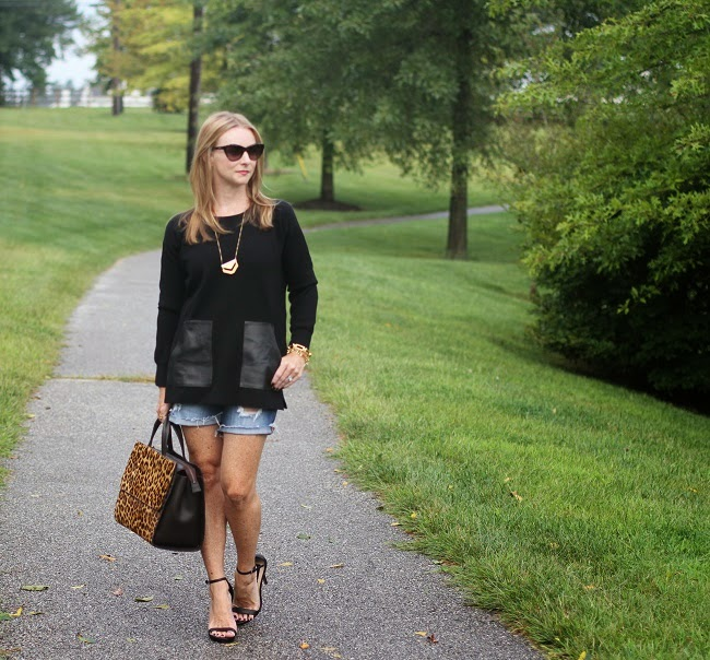 jcrew black sweater, distressed shorts, boden leopard bag, steve madden heels, madewell necklace