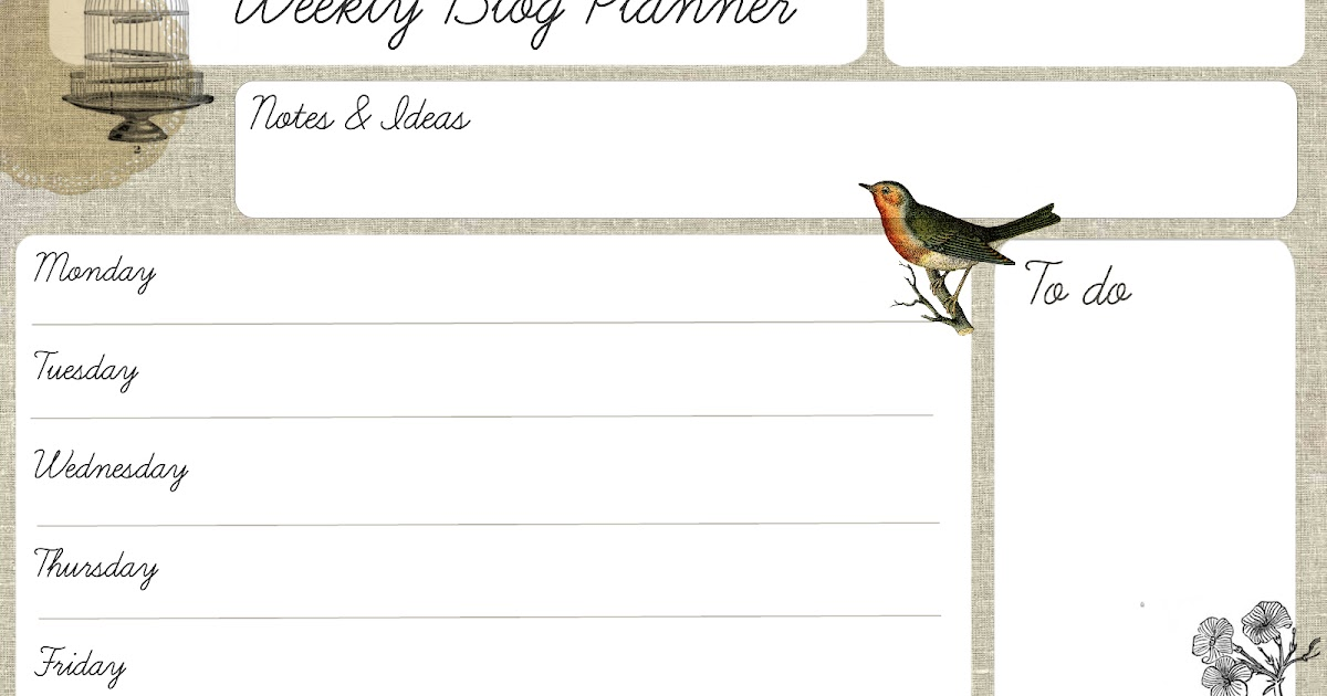 Oh the lovely things: Free Printable Weekly Blog Planner