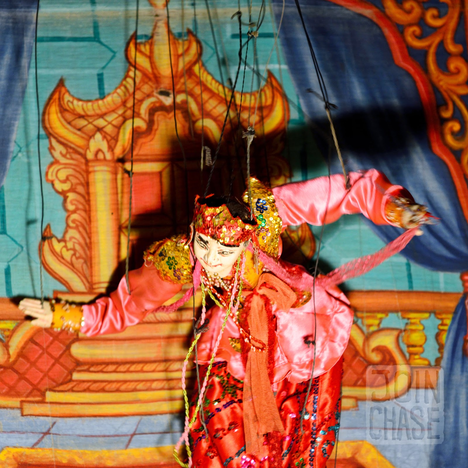 A puppet from a traditional puppet show at Nanda Restaurant in Bagan, Myanmar.