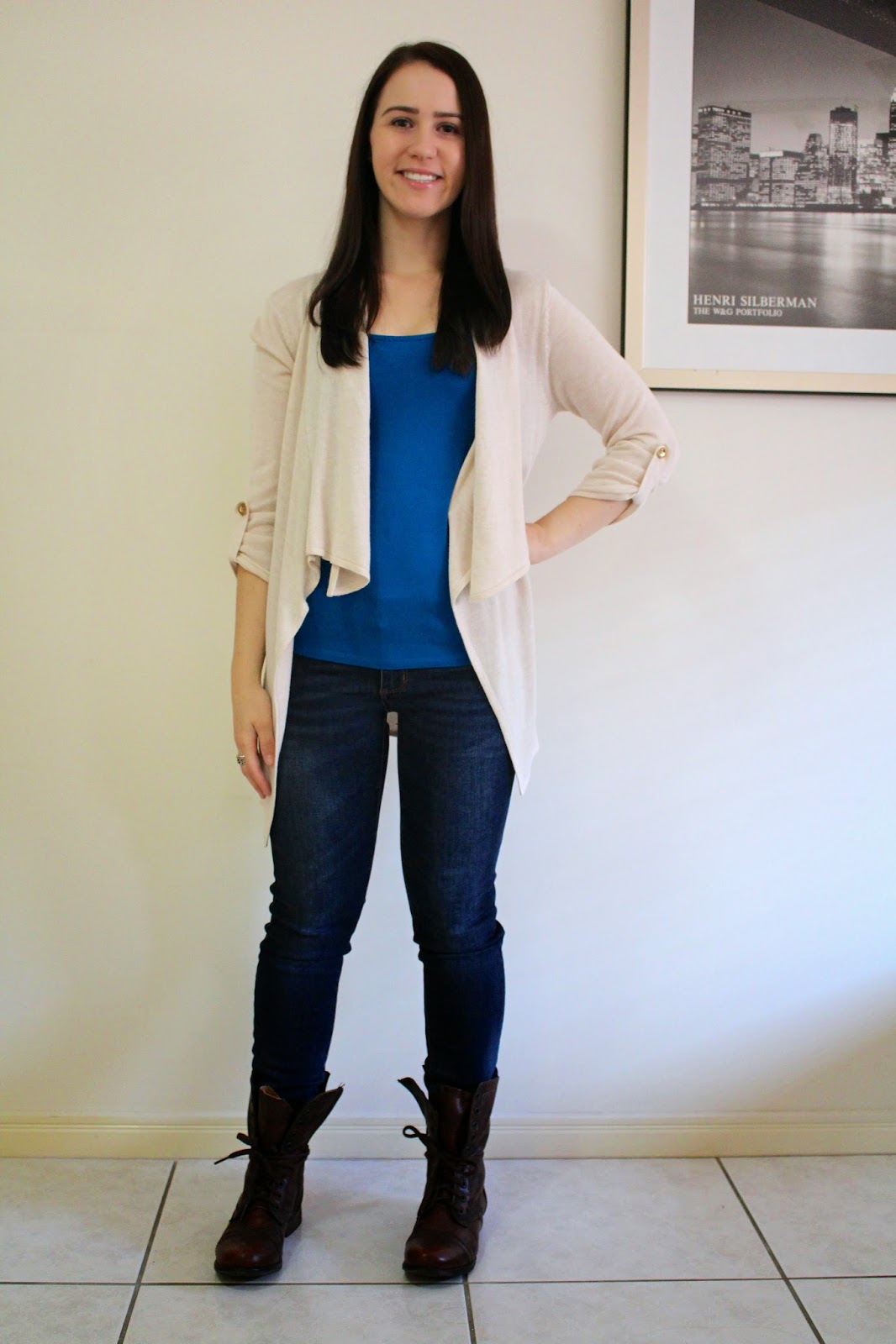 Dark wash denim jeans, cerulean blue singlet, cream waterfall cardigan, brown combat boots, pandora rings, everyday outfit, petite outfit, uni outfit, college outfit,
