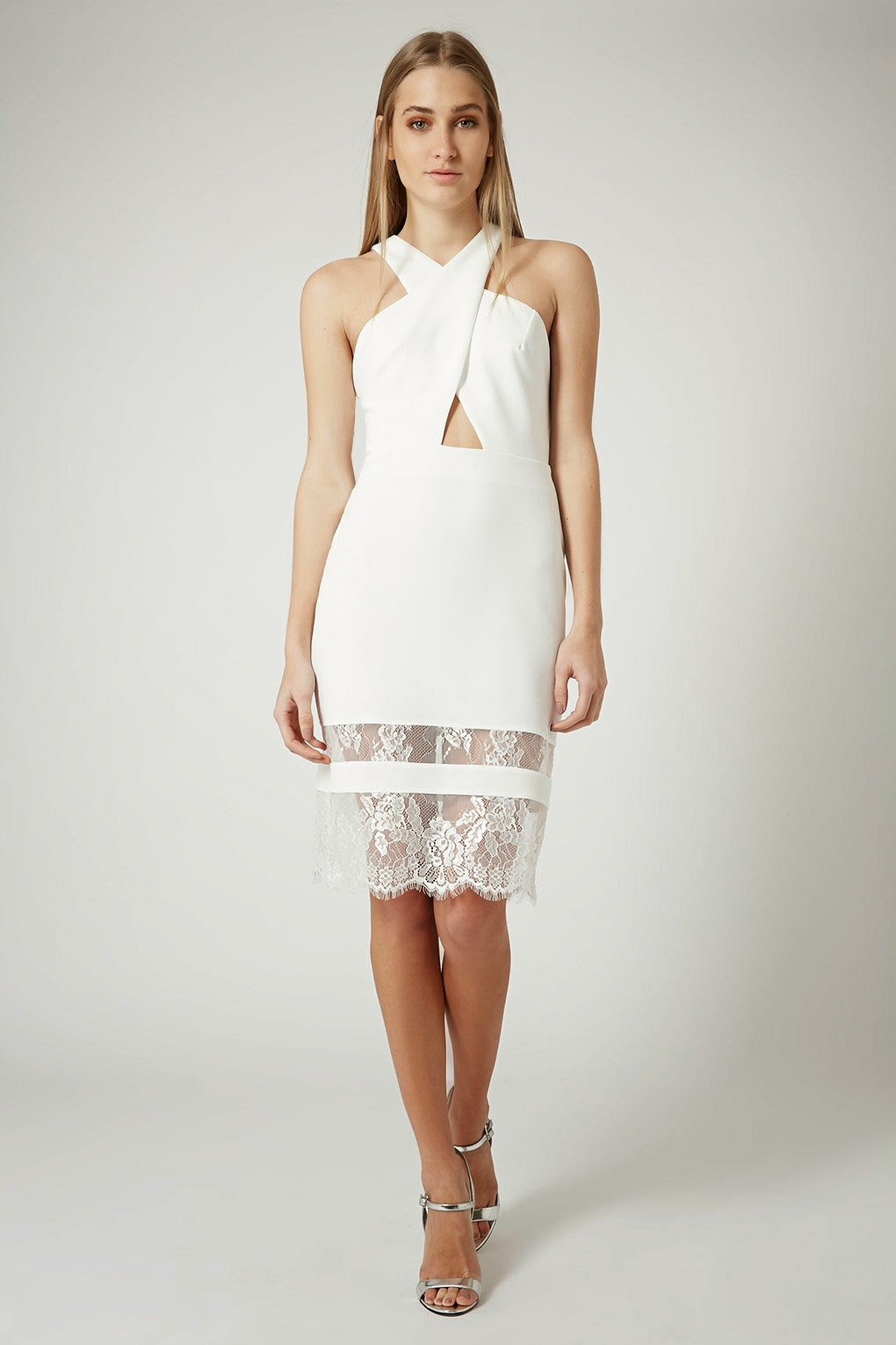 topshop white crossover dress, halter neck dress with lace,