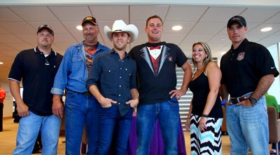 Country Western Star Justin Moore With The Five 'Your Hero's Name Here' Finalists #nascar #CrownHeroes #JWW400