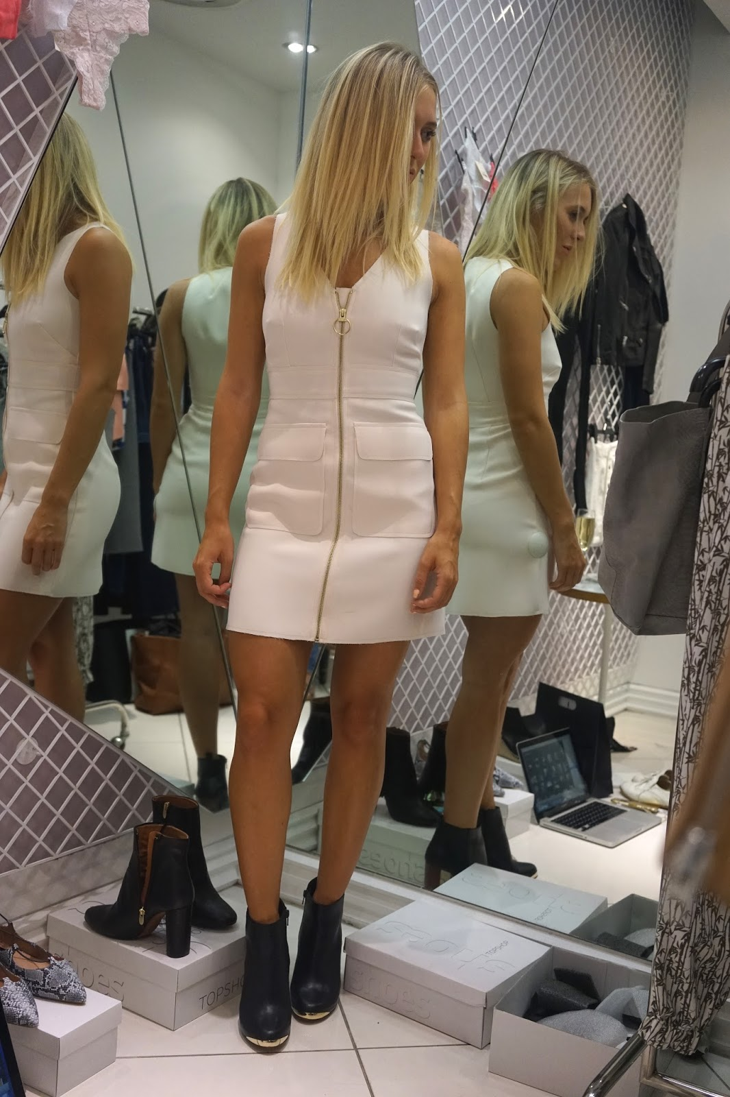 topshop cord zip front dress