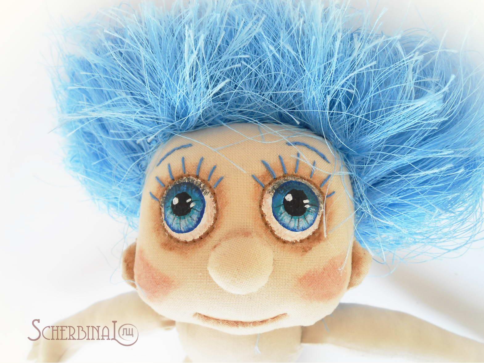 лицо текстильной куклы-карамельки