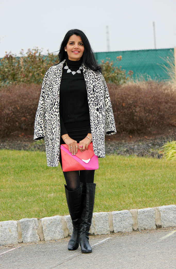Oversized Coat For Winter, Baublebar Crystal necklace, Zara Animal Print Coat, Vince Camuto Karita Boots
