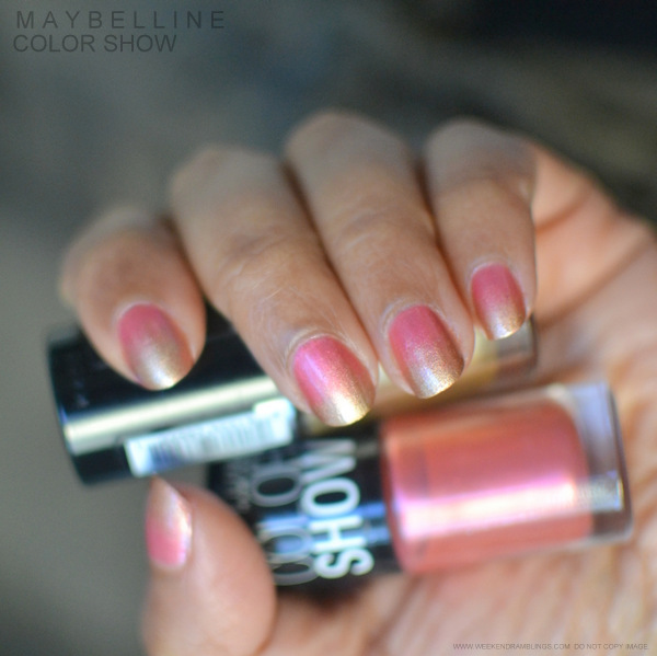 Sponge-Gradient Nail Art - Maybelline India Color Show Nail Polish - Bold Gold Chrome Pink