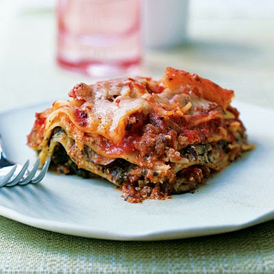 Pesto Lasagna with Spinach and Mushrooms