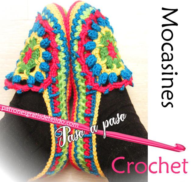 Mocasines tejidos al crochet