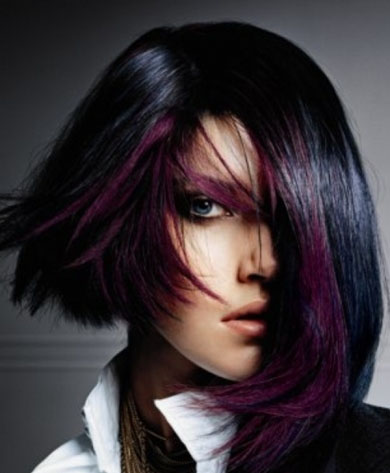 Purple Glam Hair Style 2014