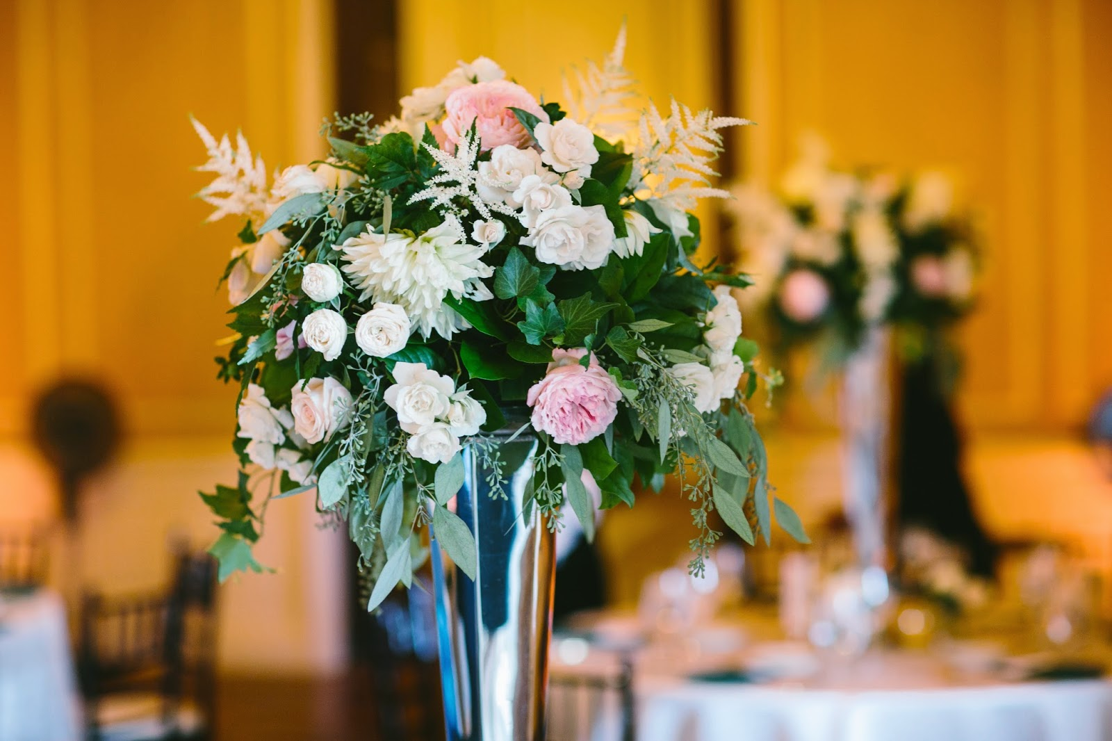 les fleurs : crane estate : silver hexagon pedestal : tall centerpieces : emerald green, blush and ivory