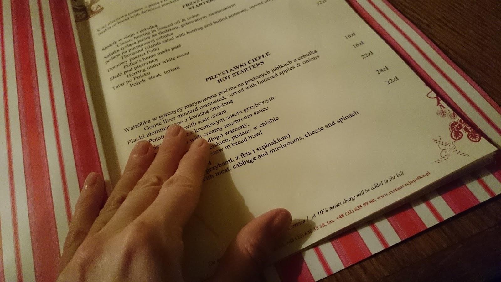 Restauracja Polka menu