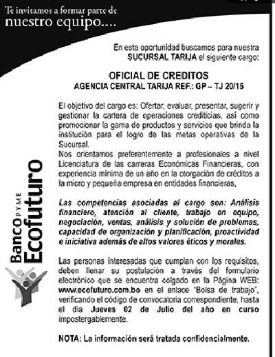 Banco Ecofuturo precisa Oficial de Créditos - Agencia Tarija