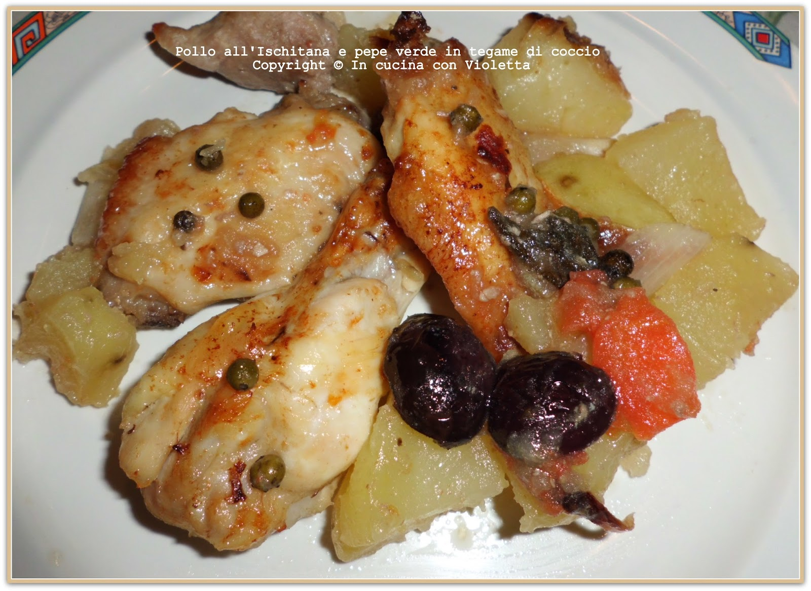 In Cucina Con Violetta: Pollo allIschitana al pepe verde in tegame di ...
