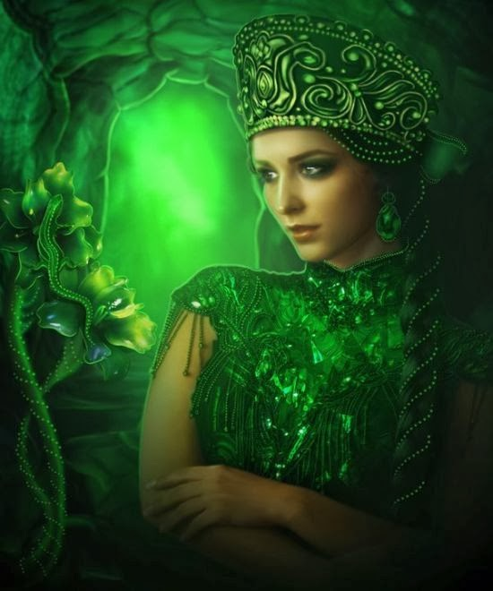 Lilia Osipova deviantart photo manipulations photoshop illustrations fantasy surreal psychedelic The mistress of the copper mountain