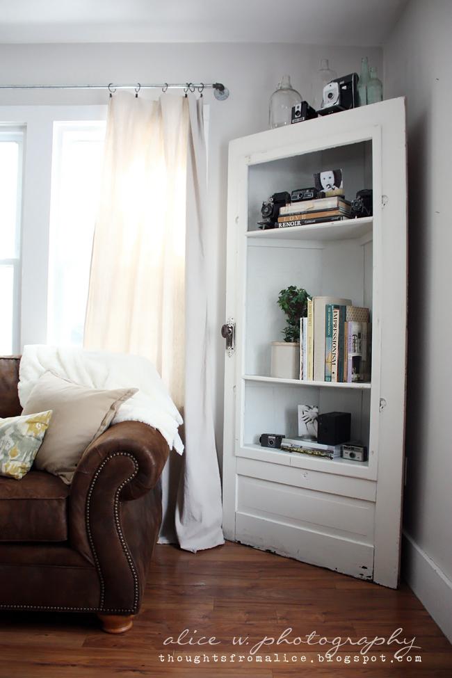 Attractive Salvage Door Corner Shelf
