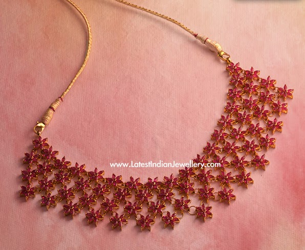 Stylish Ruby Indian Gold Necklace