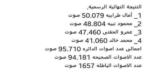 بالفيديو النتائج النهائية لانتخابت مجلس النواب بمنية النصر